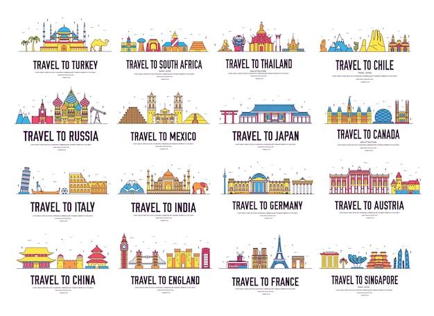 Paese sottile linea icone viaggi guida vacanze luoghi e caratteristiche. grande insieme di paesaggio di architettura