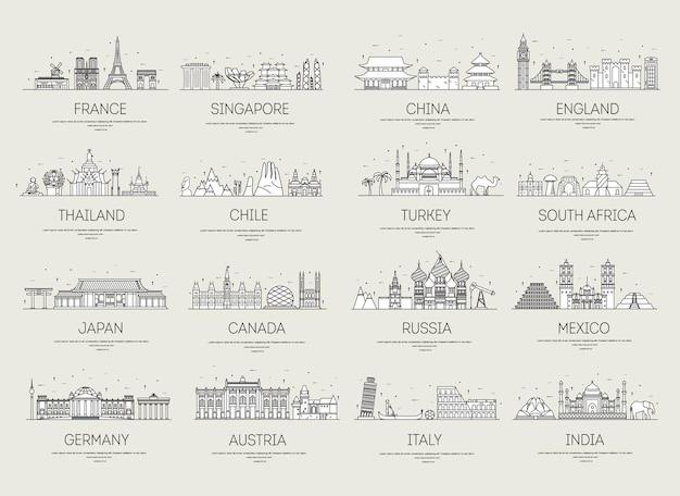 Le icone della linea sottile del paese viaggiano ai luoghi e alle caratteristiche della guida di vacanza Vettore Premium