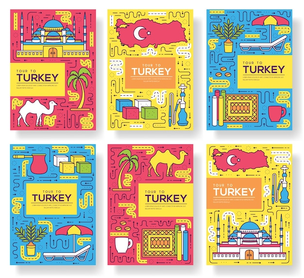 Set di sottile linea di carte brochure paese turchia