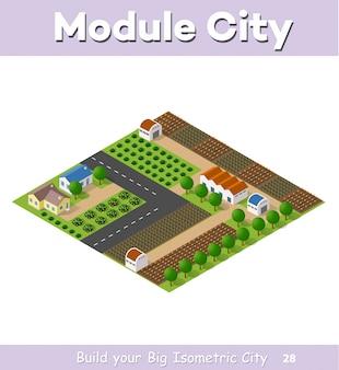 Paese villaggio di case a schiera e case rurali con strade, strade