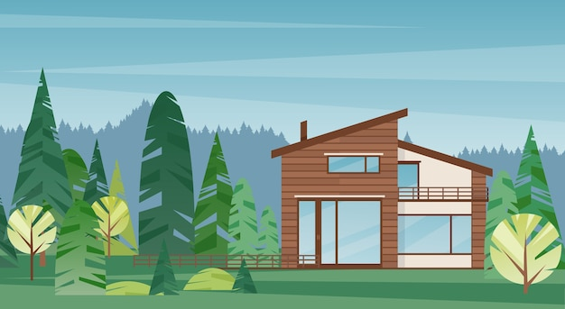 Esterno del cottage di campagna. architettura di abitazione di lusso e bellissima foresta sullo sfondo