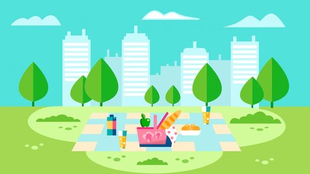 Illustrazione piana della preparazione di picnic della campagna