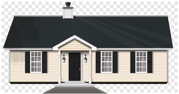 Casa privata di campagna isolata su uno sfondo trasparente. casa in legno a un piano con tromba e tre finestre. illustrazione