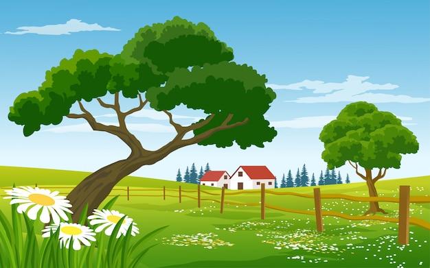 Paesaggio di campagna con fattoria e recinzione