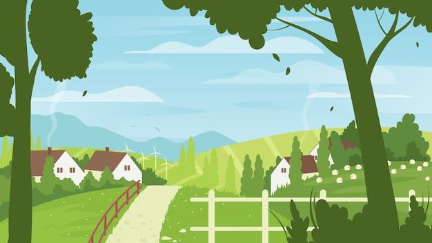 Paesaggio del villaggio del paesaggio della fattoria estiva della campagna con i mulini a vento delle case del contadino rurale