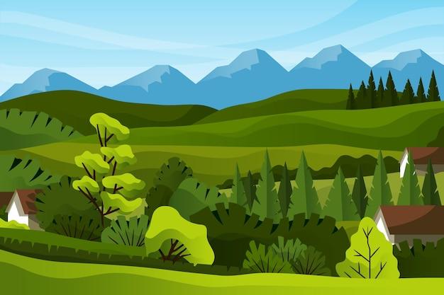 Villaggio di campagna e montagne