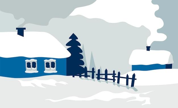 Campagna con vecchie casette e recinzione, villaggio o paesaggio rurale in inverno. scenario di edifici e vapore di fumo. paesaggio urbano rustico all'aperto con architettura. vettore in stile piatto