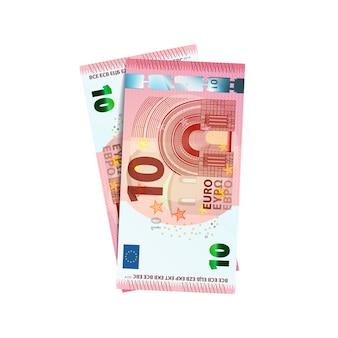 Coppia di banconote in euro 10