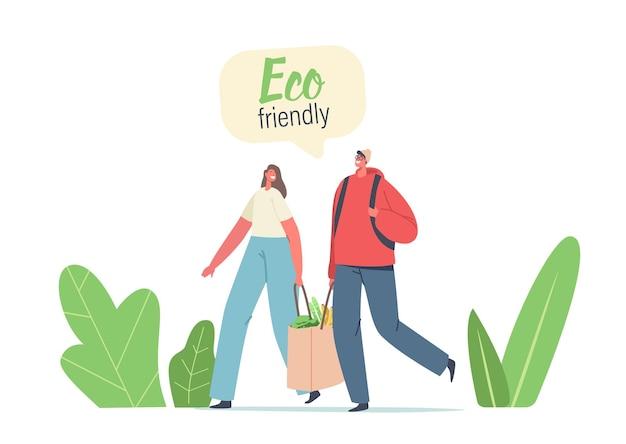 Coppia di personaggi adulti uomo e donna trasportano prodotti in un sacchetto di carta ecologico