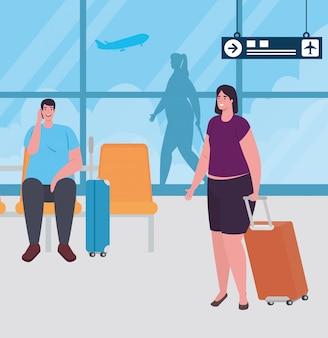 Coppia sul terminal dell'aeroporto, passeggeri al terminal dell'aeroporto con disegno di illustrazione vettoriale di bagagli
