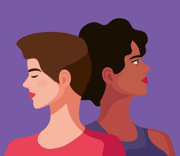 Coppia di personaggi di belle donne