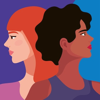 Coppia profili di belle donne