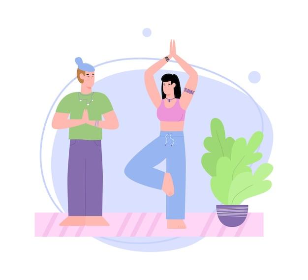 Coppia di legame con un uomo e una donna facendo yoga illustrazione