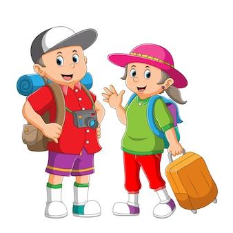 La coppia del ragazzo e della ragazza stanno portando la borsa da viaggio e la valigia dell'illustrazione