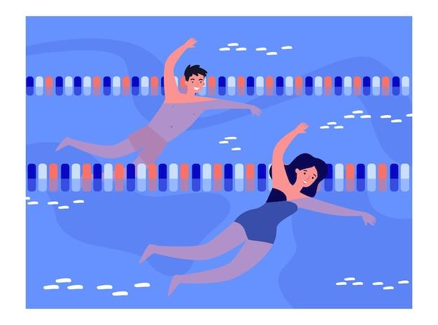 Coppia di ragazzo e ragazza che nuotano in piscina