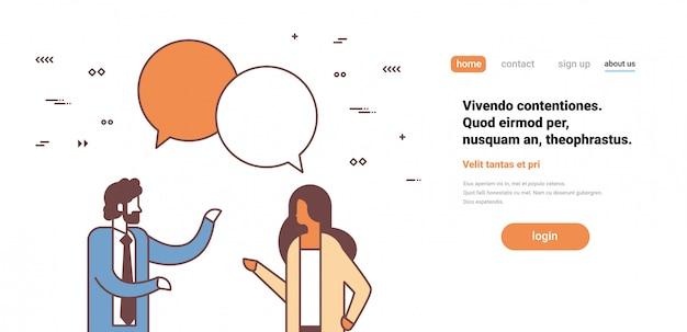 Coppia uomini d'affari chat bolla comunicazione uomo donna discutendo maschio femmina personaggio dei cartoni animati ritratto orizzontale