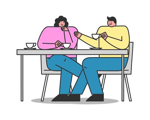 Coppia in caffè. personaggi dei cartoni animati seduti a tavola, bevendo tè o caffè e parlando. incontro o appuntamento con gli amici