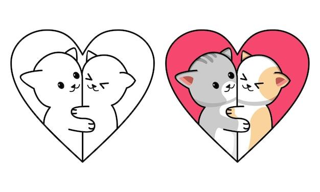 Coppia gatto innamorato cuore pagina da colorare per bambini