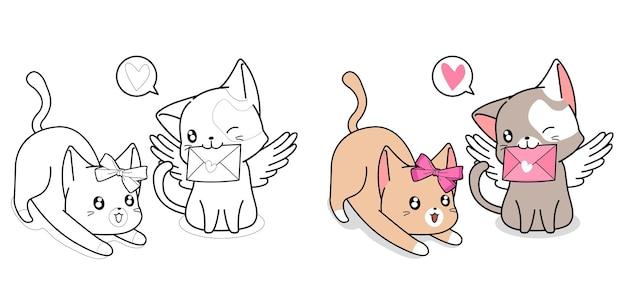 Pagina da colorare di coppia gatto e lettera d'amore del fumetto