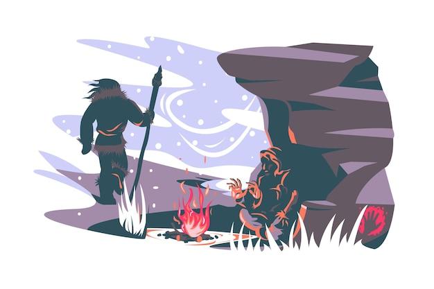 Coppia di uomini delle caverne persone vettoriale illustrazione caverna paesaggio falò e caratteri umani stile piano esaurito uomo preistorico rilassante vicino fuoco antico concetto di età isolato Vettore Premium
