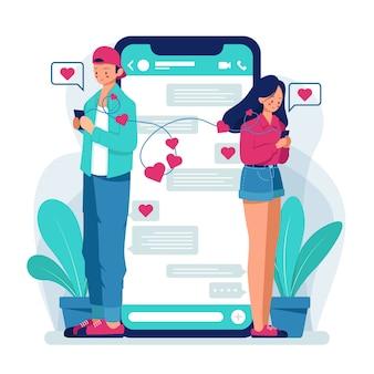 Coppia in chat su app di appuntamenti. .