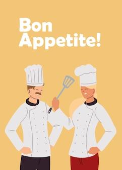 Chef di coppia con design illustrazione cucina uniforme ed elementi