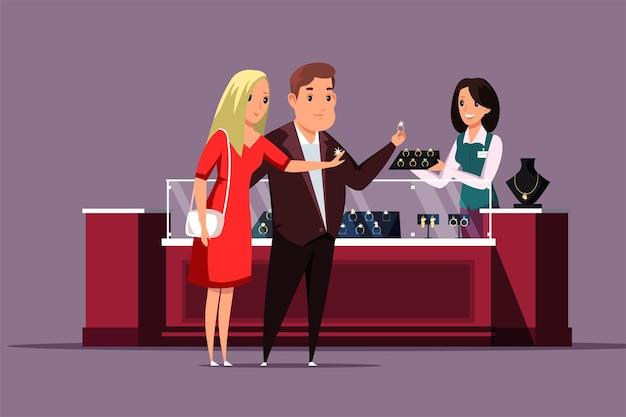 Coppia che sceglie l'illustrazione dei gioielli marito che acquista un anello di diamanti d'oro per i personaggi dei cartoni animati della moglie