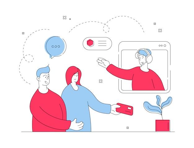 Coppia in comunicazione con lo specialista dell'assistenza del negozio online. illustrazione al tratto