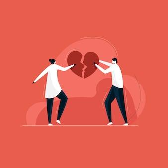 Coppia cuore di collegamento, giovane coppia innamorata, concetto di san valentino