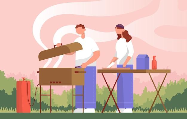 Coppia cucinare barbecue in natura colore cartone animato piatto vettore stile di vita concetto attività all'aperto