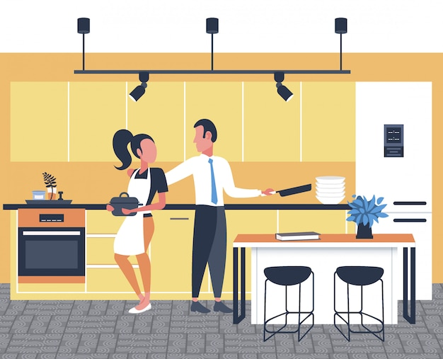 Coppia cucinare insieme cibo donna uomo preparare colazione moderna cucina interno integrale orizzontale