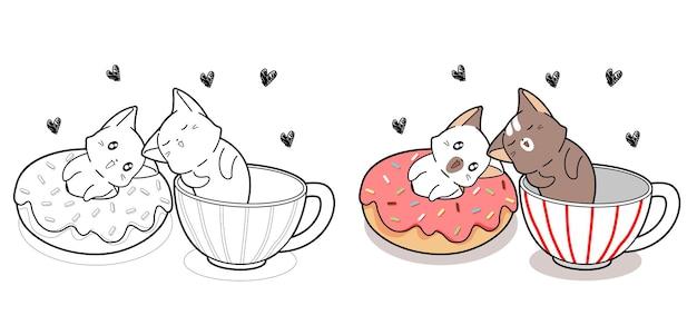 Coppia simpatico gatto con dessert e tazza di caffè pagina da colorare del fumetto