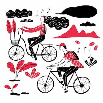 Coppia in bicicletta nel parco, raccolta di disegnato a mano.