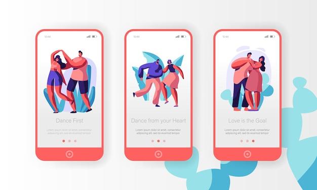 Set di schermo a bordo pagina app mobile coppia danza insieme.