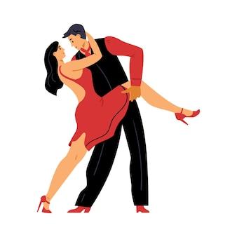 Coppia di ballerini che ballano salsa o tango piatto illustrazione vettoriale isolato