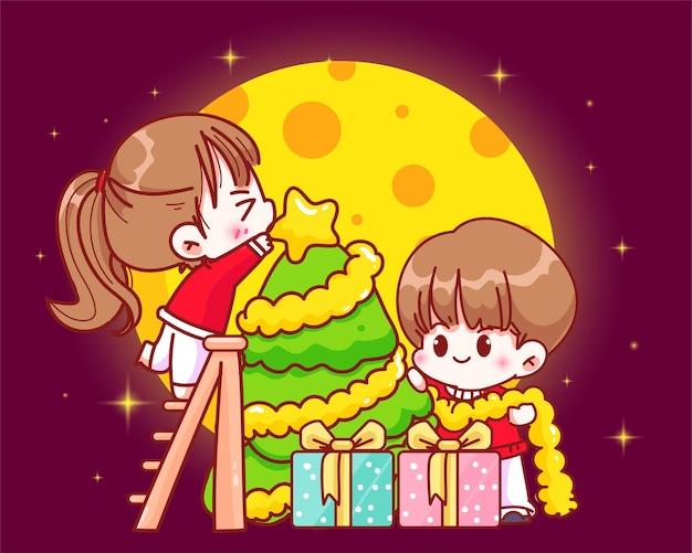 Coppia che decora l'albero di natale sull'illustrazione disegnata a mano di arte del fumetto di celebrazione di festa di natale