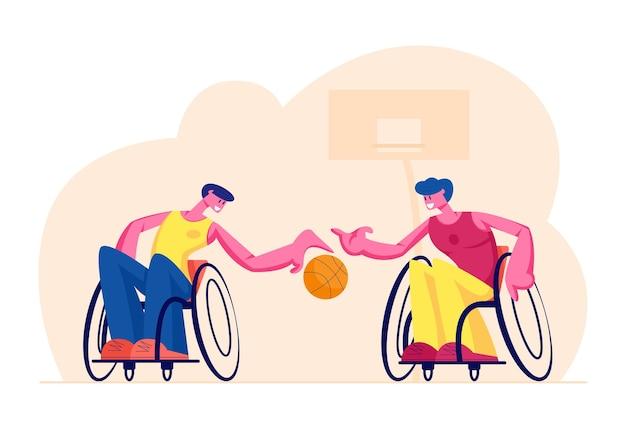 Coppia di uomini paralizzati disabili che giocano a basket seduti sulle sedie a rotelle, fumetto illustrazione piatta