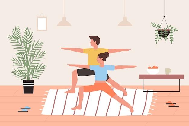 Coppia facendo esercizi di yoga asana allenamento in casa interni insieme