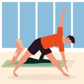 Coppia che fa yoga