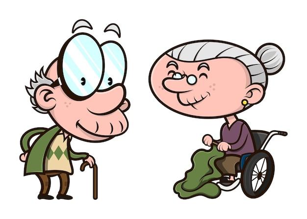 Coppia di anziani, vecchio uomo che cammina lentamente con bastone e vecchia donna seduta in sedia a rotelle