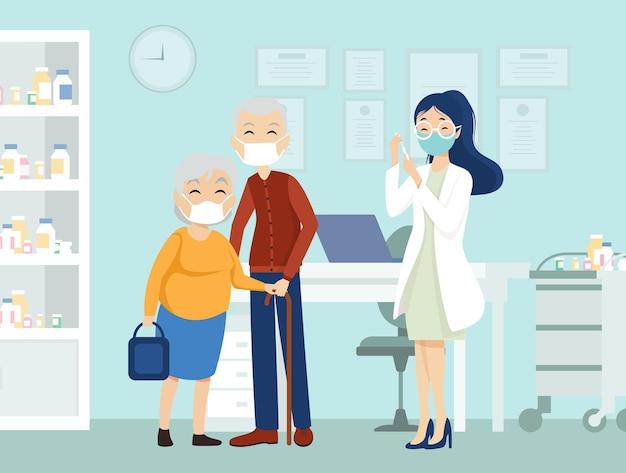 Coppia di anziani vaccinati. il medico tiene una vaccinazione per iniezione donna anziana.