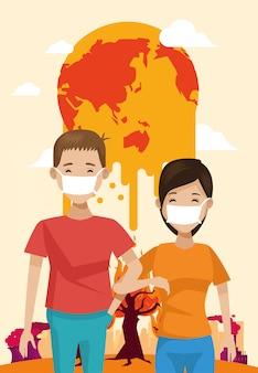 Coppie degli ambientalisti con la foresta asciutta nell'illustrazione del pianeta Vettore Premium
