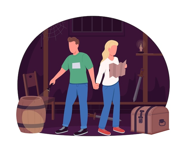 Coppia in escape room 2d web banner, poster. uomo che tiene la mano della donna. personaggi piatti partner romantici su priorità bassa del fumetto. toppa stampabile idea data divertente, elemento web colorato