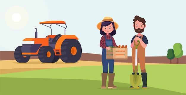 Coppia agricoltori con un campo e un trattore