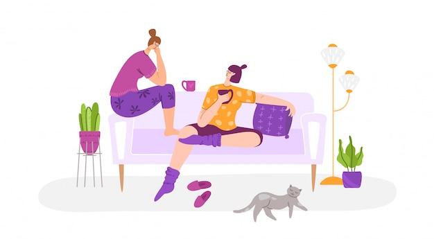 Coppia di donne gay insieme nel soggiorno in chat