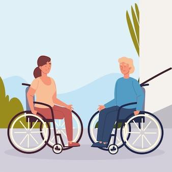 Handicap di coppia su sedia a rotelle