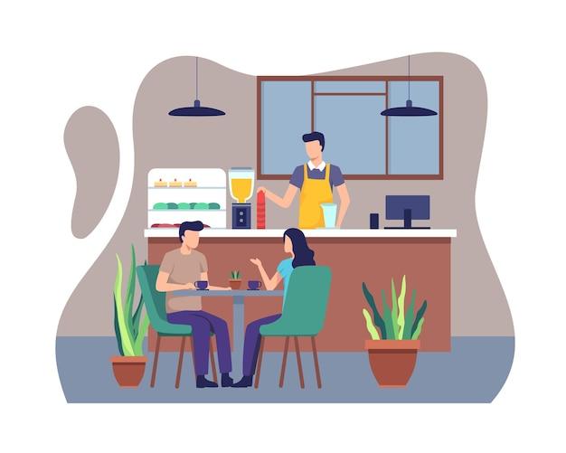 Le coppie cenano insieme in un caffè. illustrazione in uno stile piatto