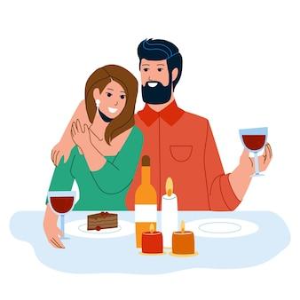 Coppia ha una cena romantica con il vettore di candele. uomo e donna che si incontrano e festeggiano san valentino insieme a candele, bevono vino e mangiano dolci. personaggi piatto fumetto illustrazione