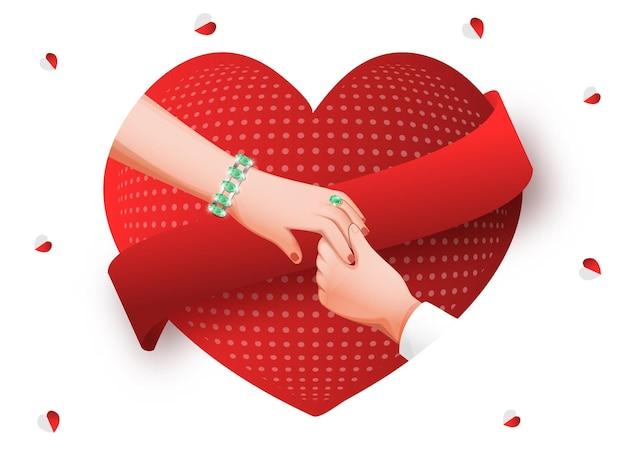 Coppia mano nella mano su sfondo rosso e bianco a forma di cuore.