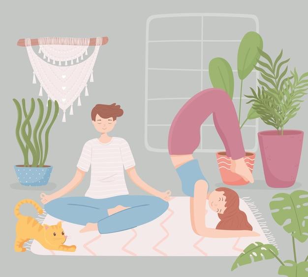Coppia in casa a fare yoga